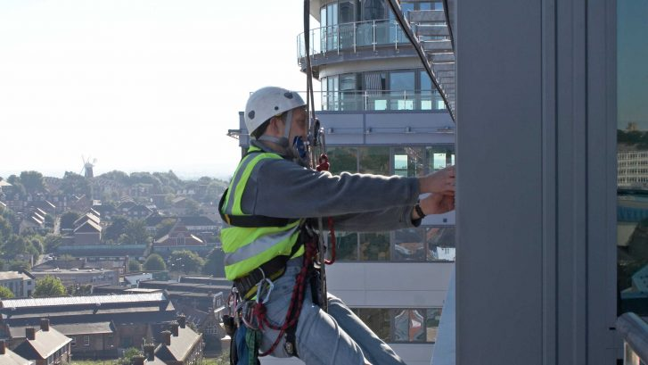 Rope Access Engineer on a Facade Access Track