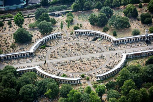 Brompton Cemetery in London from above