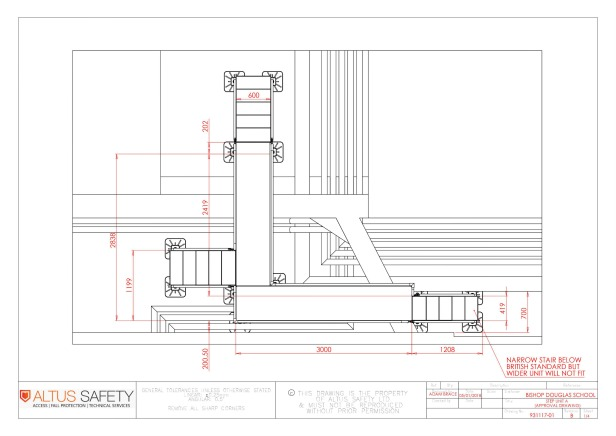 Plan of Altus Safety walkway at Bishop Douglass School