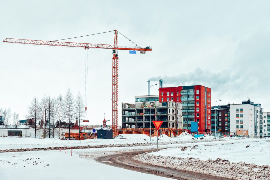 Snow and ice on construction site